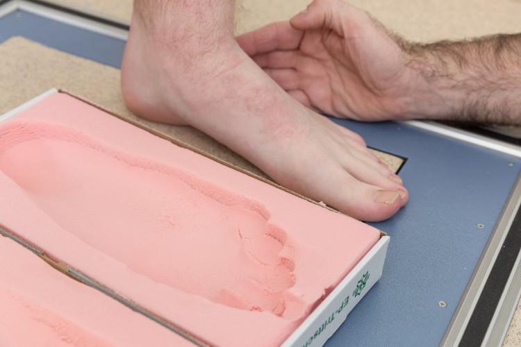 Fußabdruck zur Anfertigung von Einlagen.